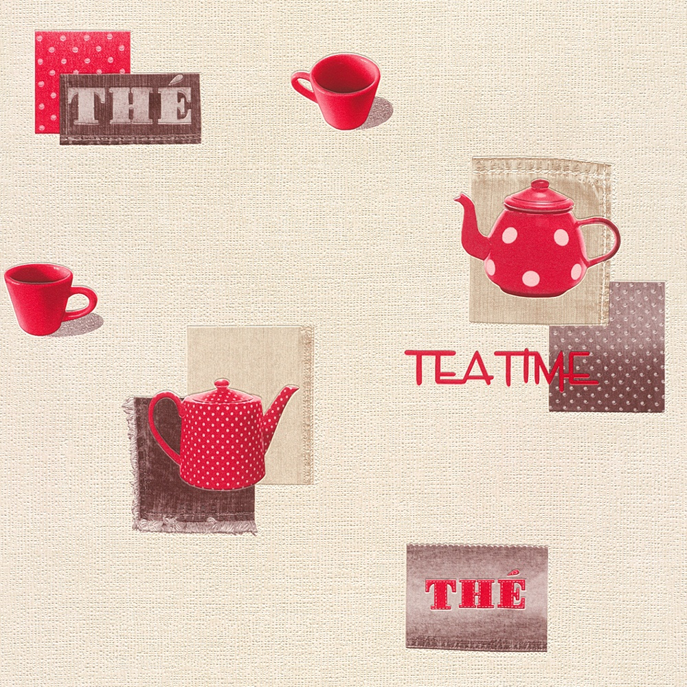 Rasch teatime teapot coffee cup motif polka embossed vinyl for Kitchen wallpaper uk