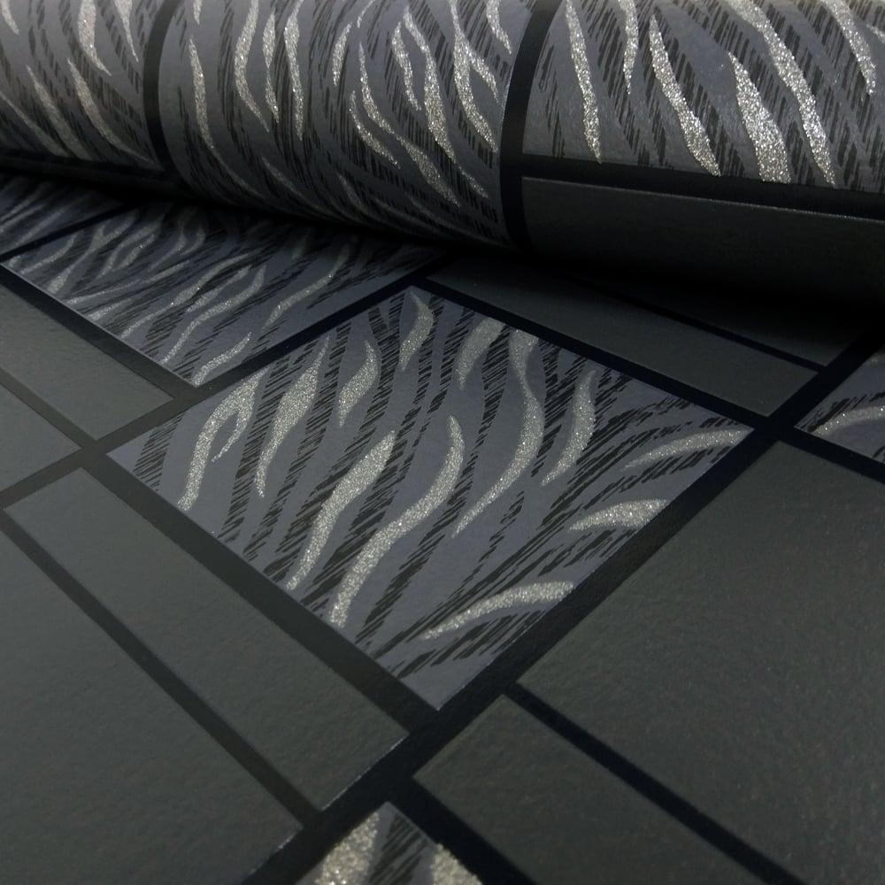 Rasch Tile Effect Pattern Wallpaper Embossed Animal Tiger Print Glitter Motif 888317