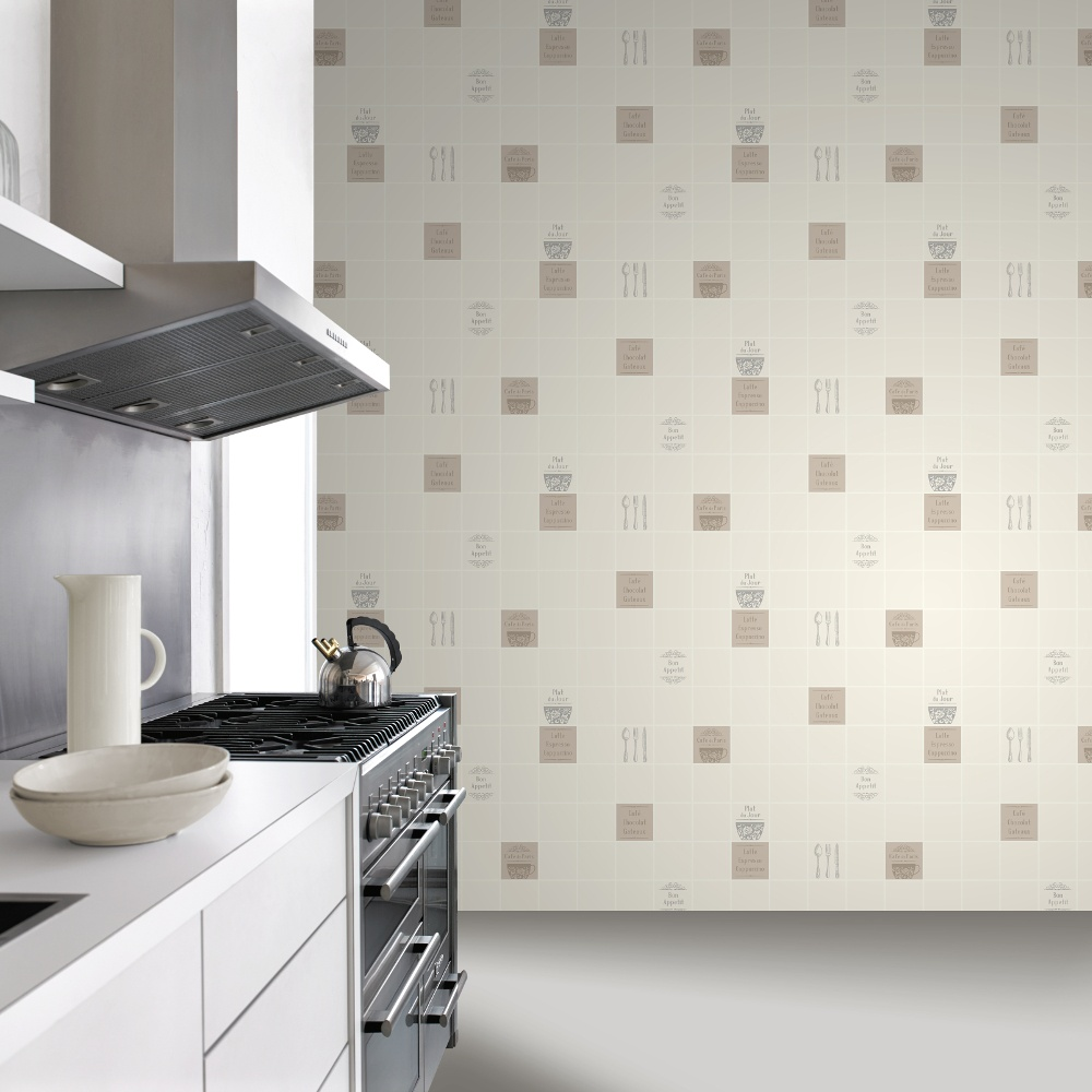 Rasch Rasch Tile Pattern Cafe Coffee Cake Restaurant Kitchen Vinyl Washable Wallpaper 888102