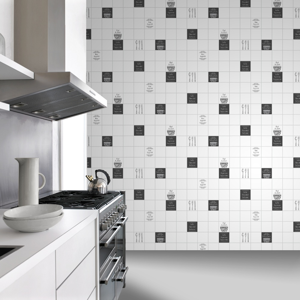 Rasch tile pattern caf coffee cake restaurant kitchen for Kitchen wallpaper uk