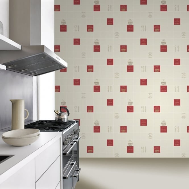 Rasch tile pattern caf coffee cake restaurant kitchen vinyl washable wallpaper 888126 cream - Washable wallpaper ...