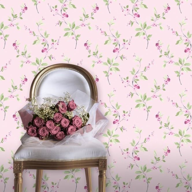 Rasch Tivoli Floral Leaf Pattern Flower Metallic Motif Wallpaper 209310