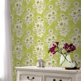 Rasch Tivoli Flower Pattern Floral Square Motif Metallic Wallpaper 209518