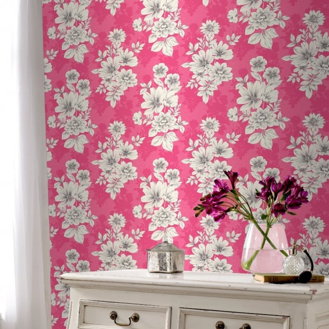 Rasch Tivoli Flower Pattern Floral Square Motif Metallic Wallpaper 209525
