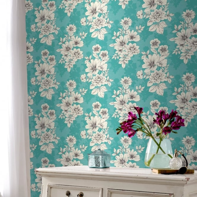 Rasch Tivoli Flower Pattern Floral Square Motif Metallic Wallpaper 209532