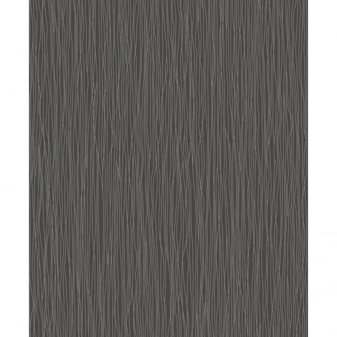 Rasch Trendspots Designer Black Silver Glitter Striped Motif Wallpaper 599787