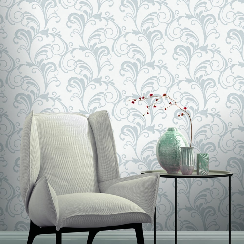 rasch scroll damask pattern wallpaper metallic leaf glitter 301823