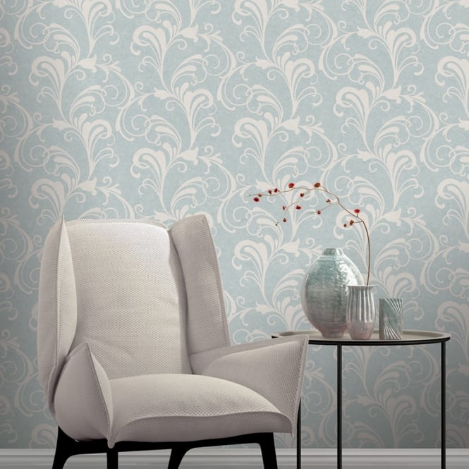 Rasch Valentina Scroll Damask Pattern Wallpaper Metallic Leaf Glitter Motif 301847