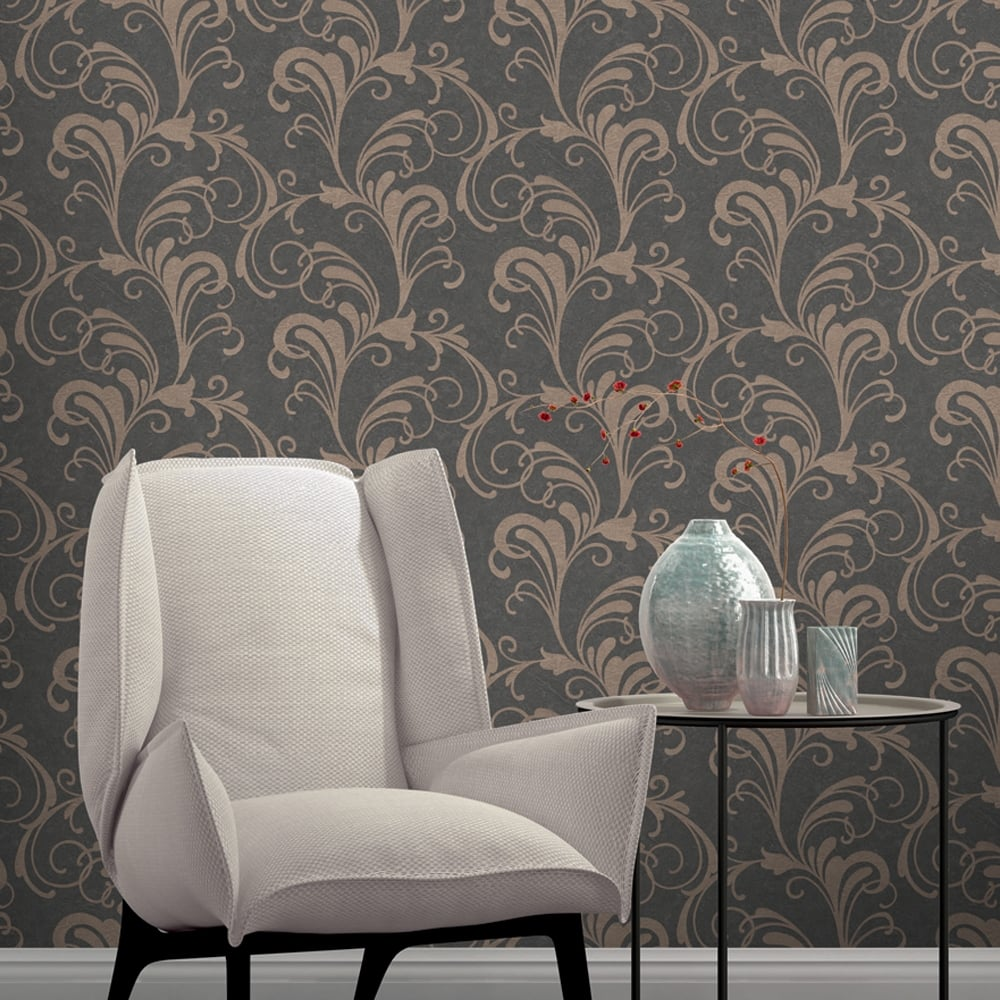 rasch scroll damask pattern wallpaper metallic leaf glitter 301861
