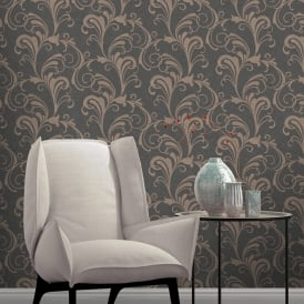 Rasch Valentina Scroll Damask Pattern Wallpaper Metallic Leaf Glitter Motif 301861