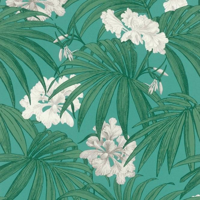 Rasch White Flower Pattern Wallpaper Floral Leaf Motif