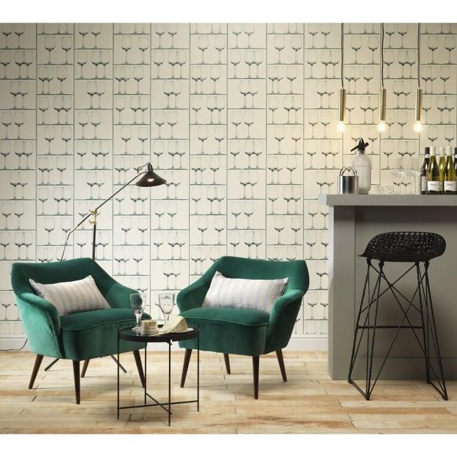 Kitchen Wallpaper Ebay Uk: Rasch Wine Glass Pattern Wallpaper Realistic Shelf Effect