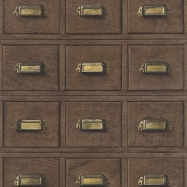 Rasch Wood Cabinet Drawers Pattern Wallpaper Vintage Realistic Faux Effect 524024