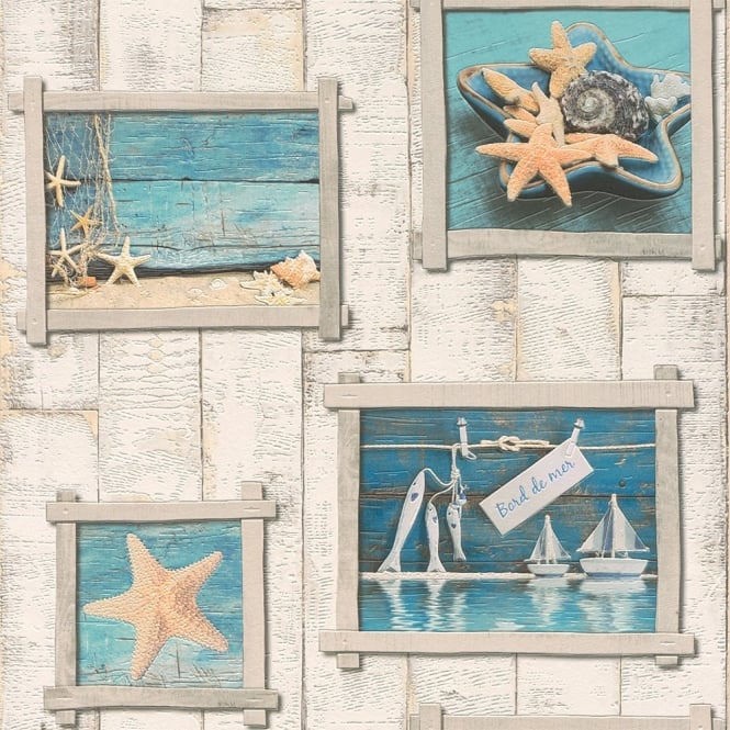Rasch Wood Pattern Photo Frame Starfish Vinyl Bathroom Wallpaper 854107