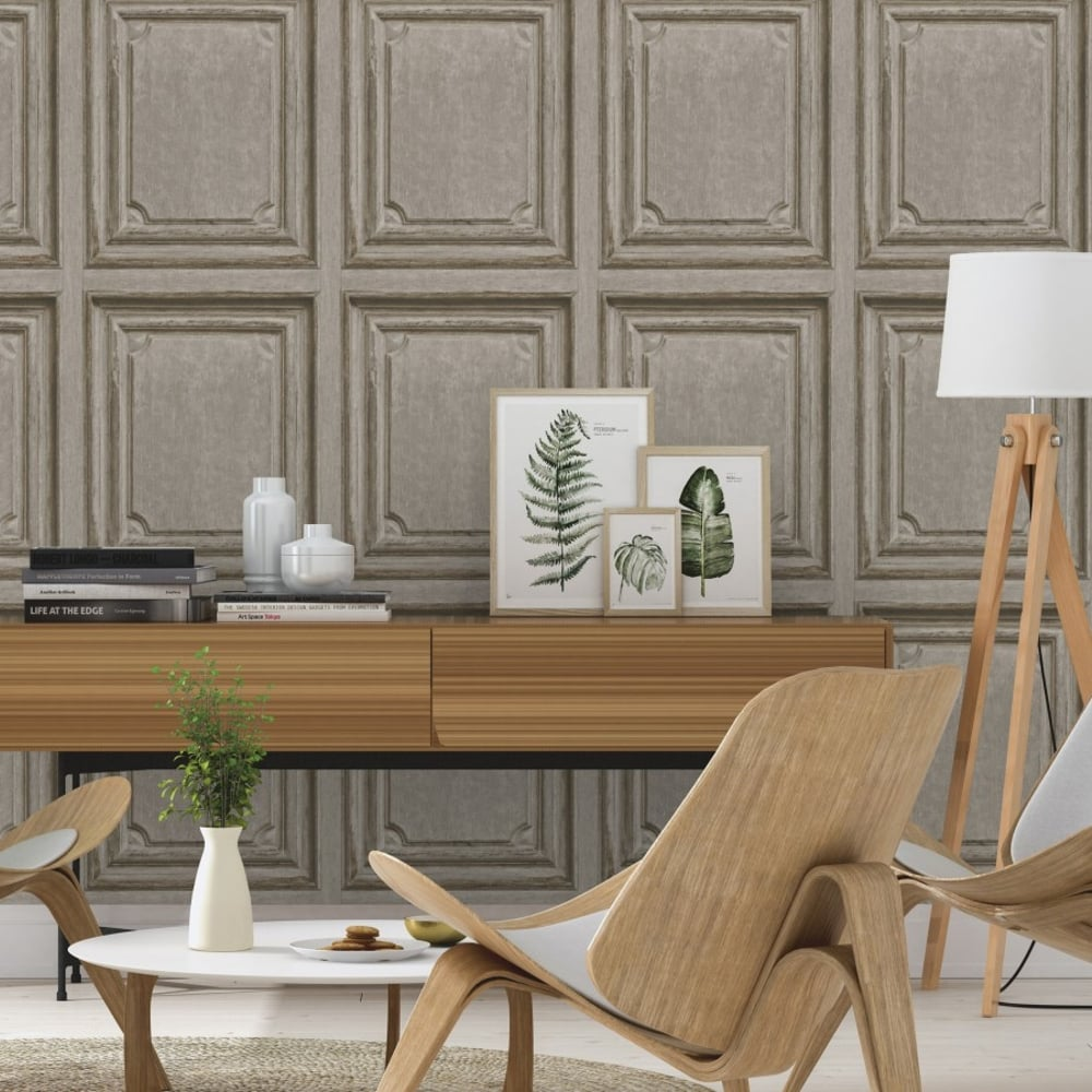 Rasch Wooden Door Pattern Wallpaper Faux Wood Effect Panel Textured