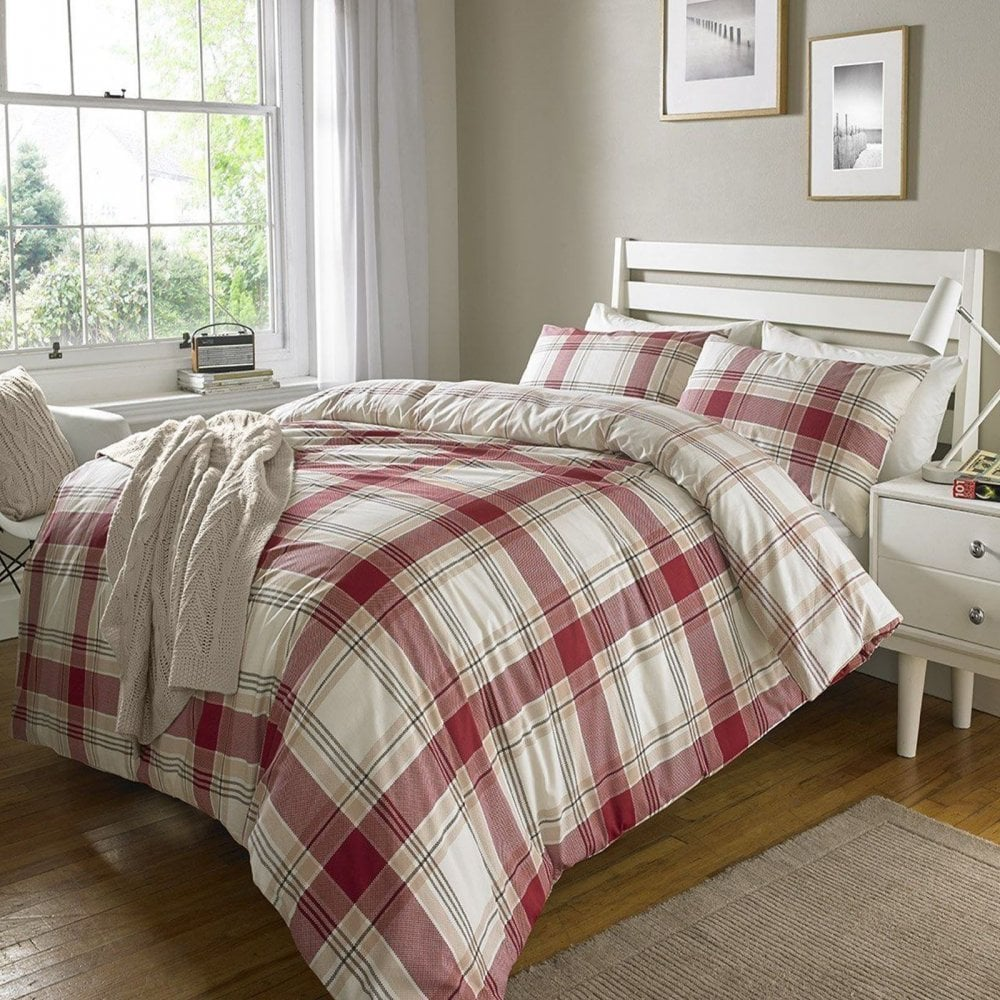 red check tartan duvet set quilt cover pillowcase. Black Bedroom Furniture Sets. Home Design Ideas