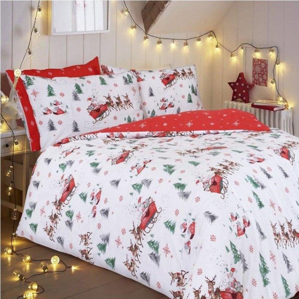 Santa Sleigh Father Christmas Duvet Cover Bedding Double