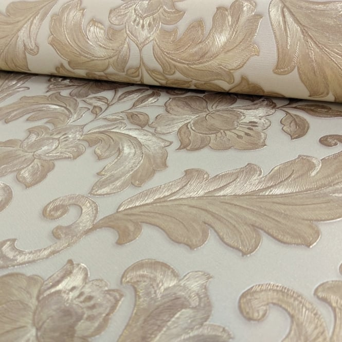 Sirpi Italian Damask Pattern Wallpaper Metallic Floral Leaf Heavy Weight 20570
