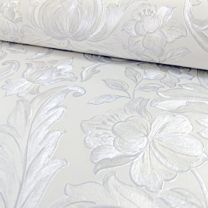 Sirpi Italian Damask Pattern Wallpaper Metallic Floral Leaf Heavy Weight 20572