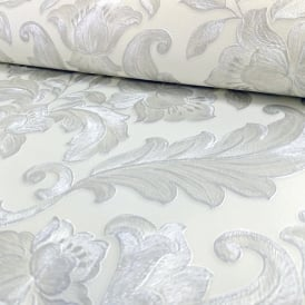 Sirpi Italian Damask Pattern Wallpaper Metallic Floral Leaf Heavy Weight 20574