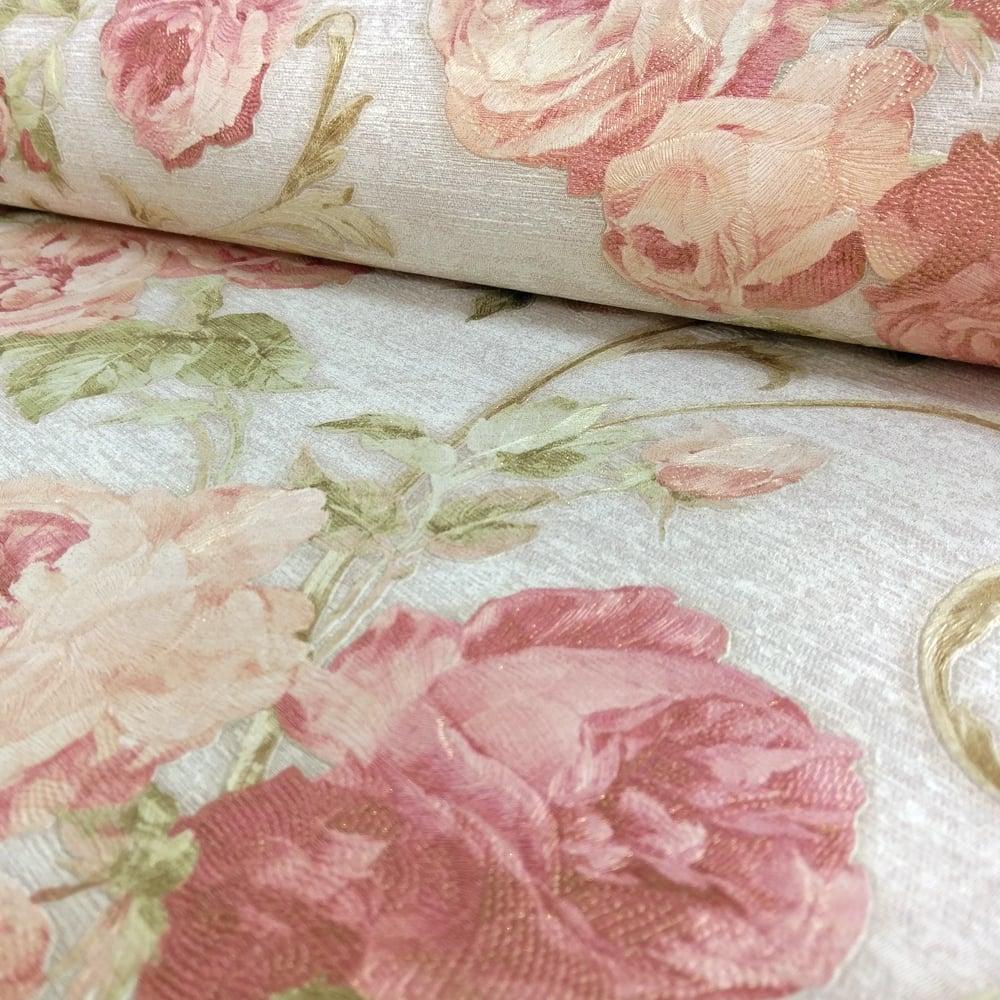 Sirpi Rose Flower Pattern Wallpaper Floral Glitter Motif Italian