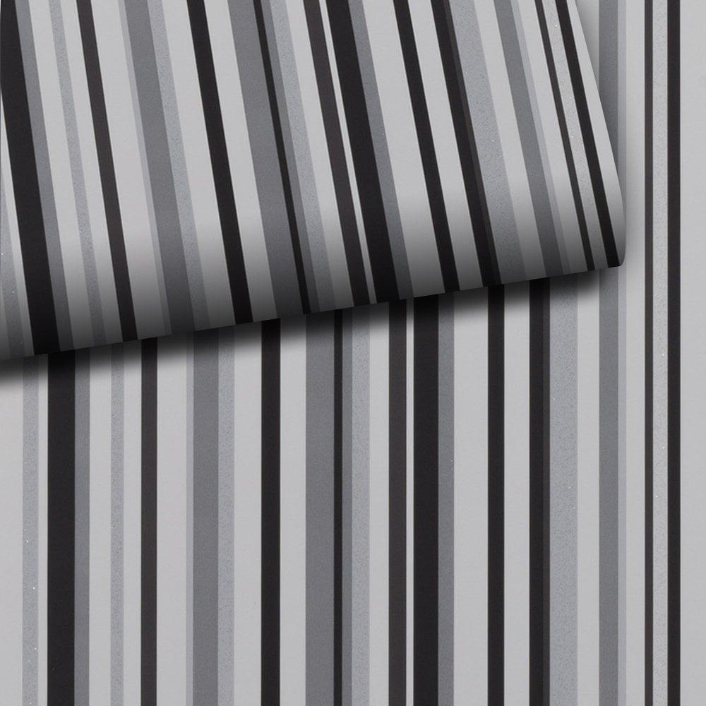Sophia Stripe Grey Black Glitter Metallic Vertical Stripe High Quality Wallpaper Exclusive 901605