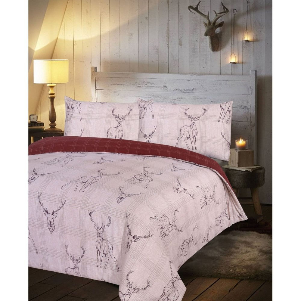 Stag Duvet Cover Red Check Reversible Bedding Set King Size