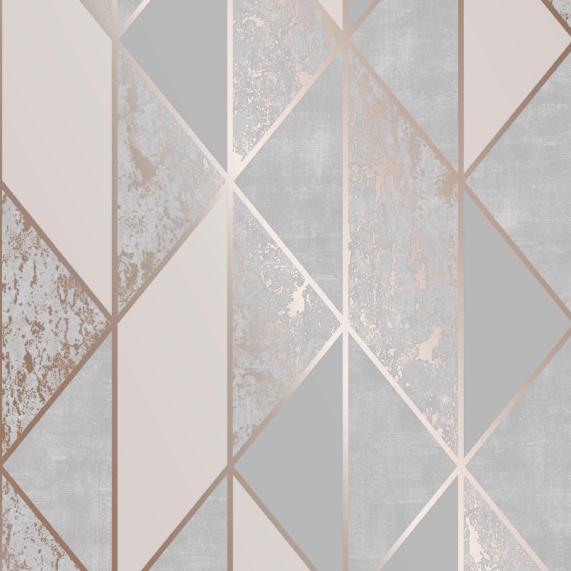 Superfresco Milan Geo Rose Gold Textured Vinyl Metallic Geometric Wallpaper 106407