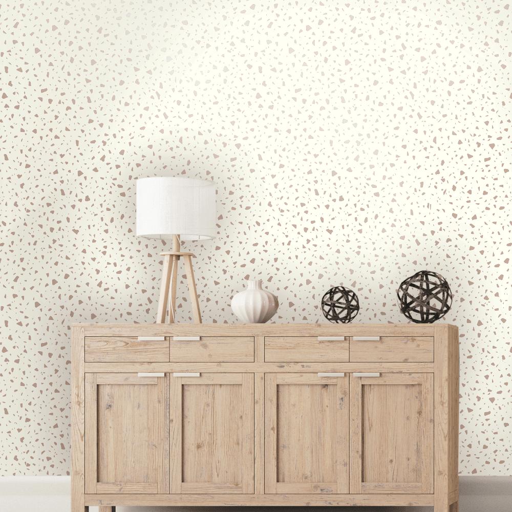Terrazo Metallic Pastel Colour Mosaic Effect Smooth Modern Wallpaper 12731