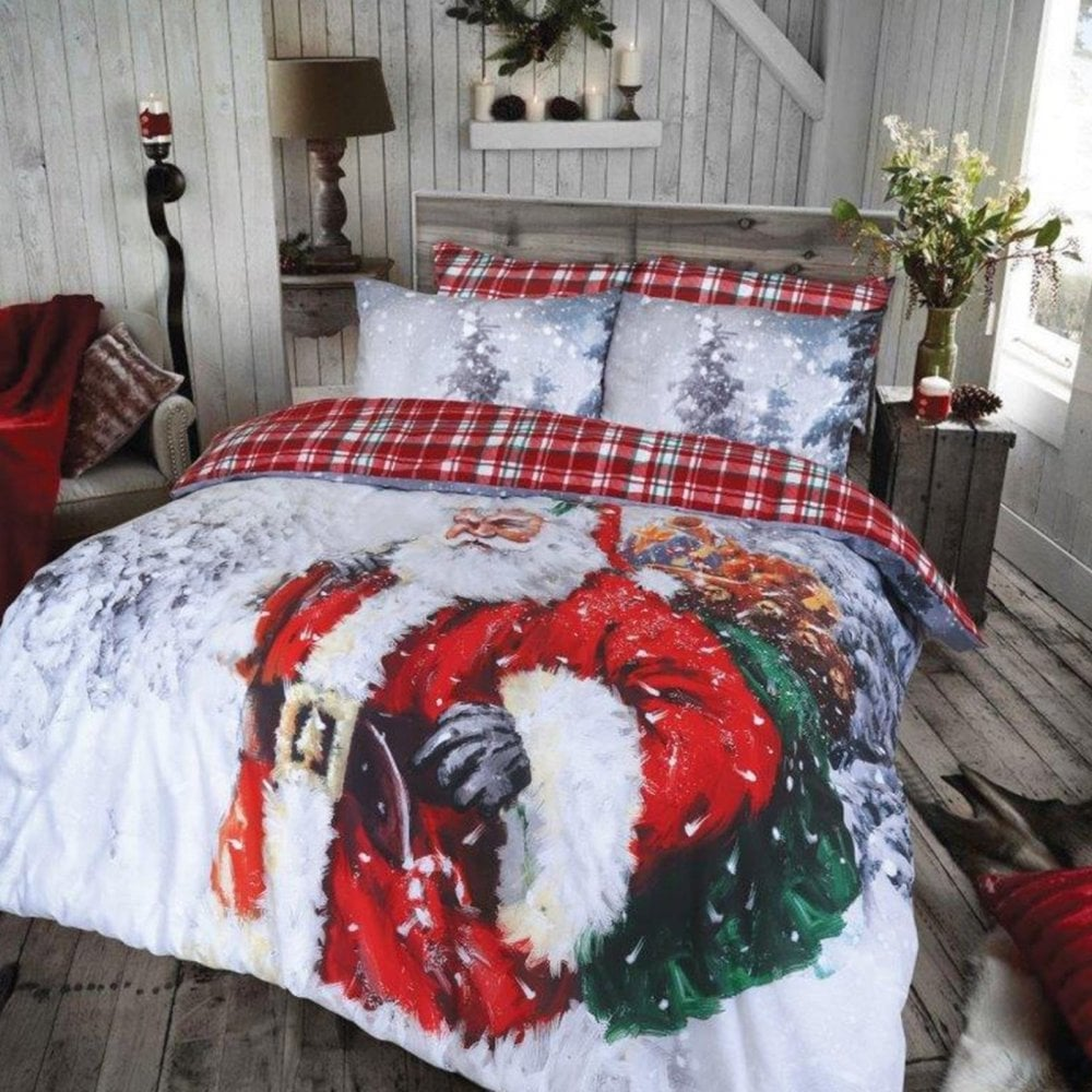 Vintage Father Christmas Duvet Set Bedding Size Double 265984