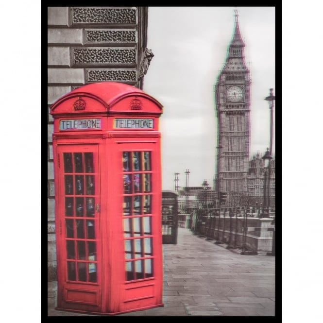 W.A. 3D Wall Art Big Ben Phone Box Portrait Framed Lenticular Picture 84-2516