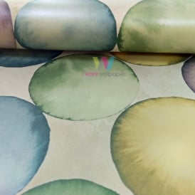 WallQuest Pear Tree Bubbles Pattern Wallpaper Water Colour Circles Metallic UK20604