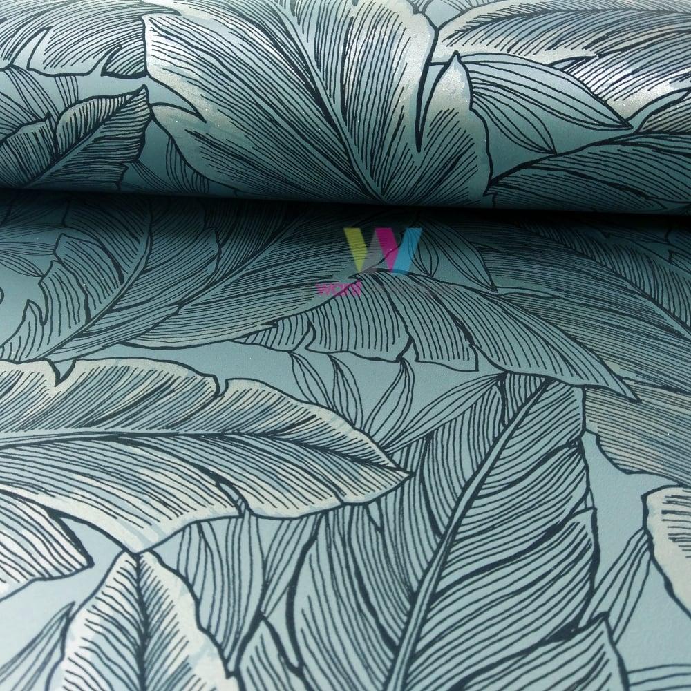 wallquest leaf pattern wallpaper modern metallic glitter