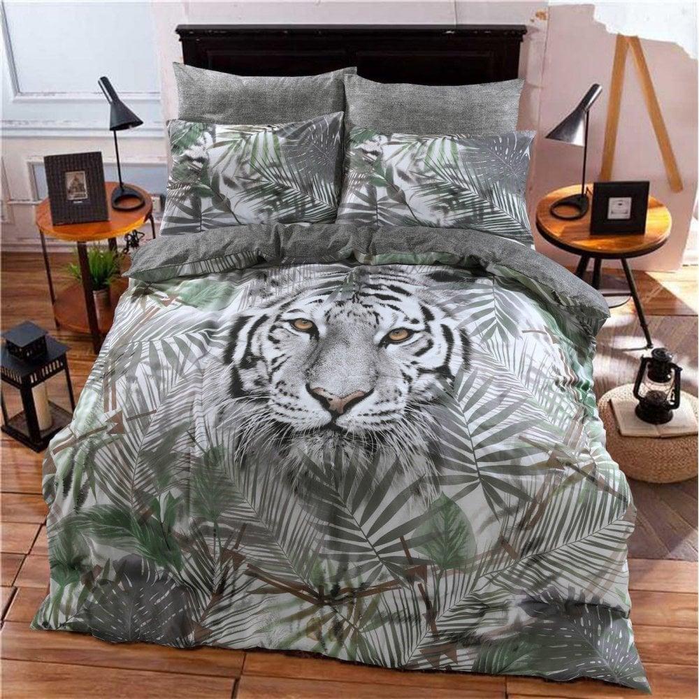 White Tiger Jungle Animal Design Duvet Cover Pillowcase Single 289102