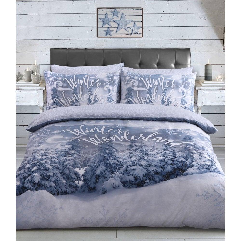 Winter Wonderland Silver Tree Snow Duvet Cover Single Size 451982