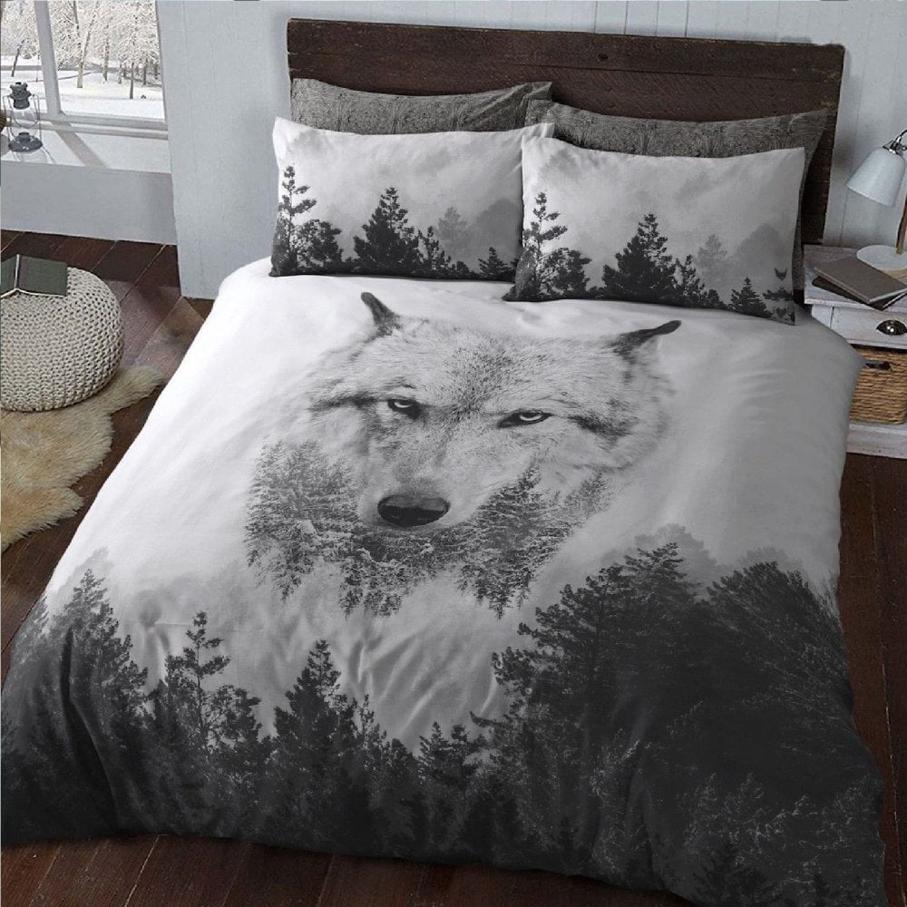 Wolf 3d Animal Print Forest Duvet Cover Bedding With Pillowcase