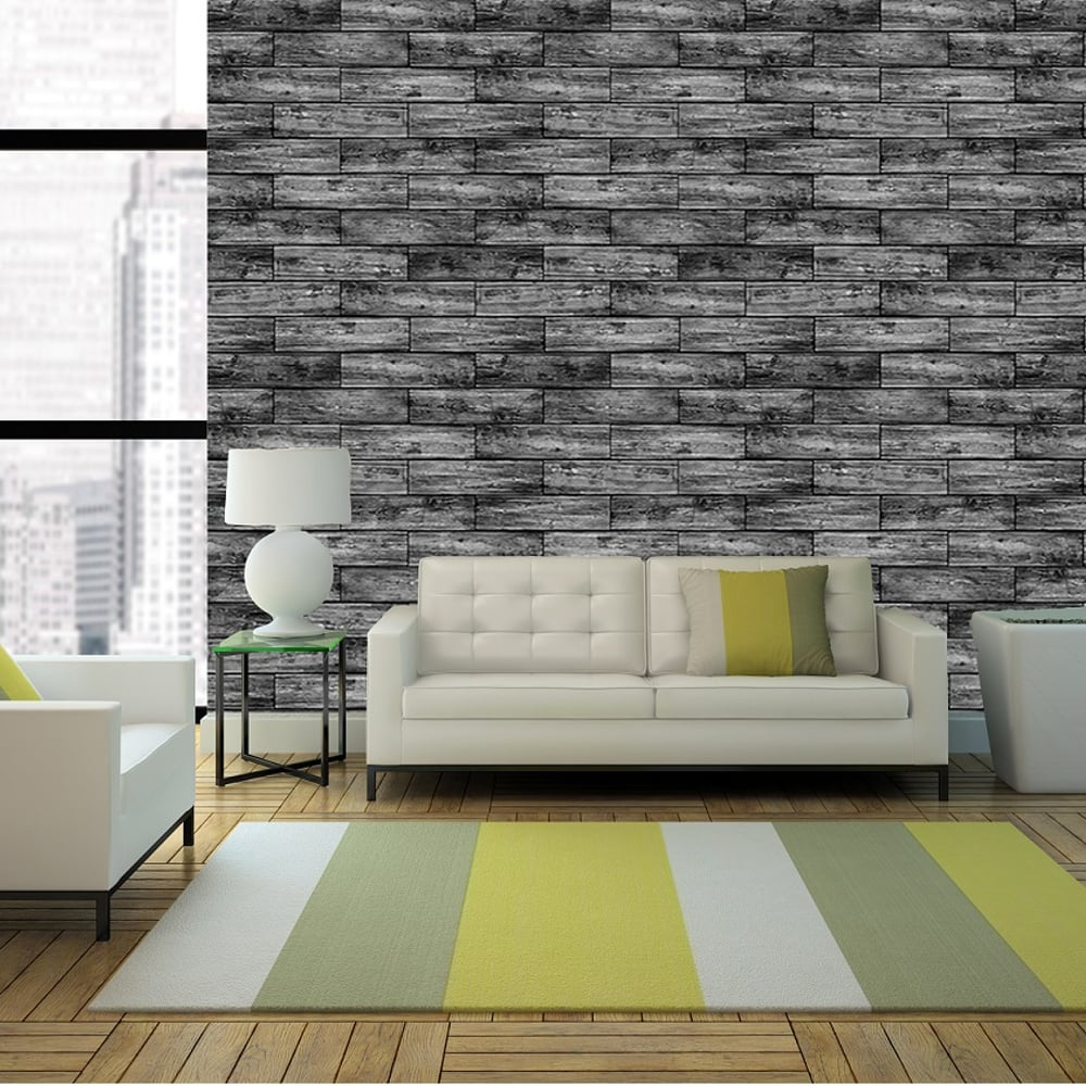 Wood panel pattern wallpaper mural faux washed timber - Wood effect wallpaper living room ...