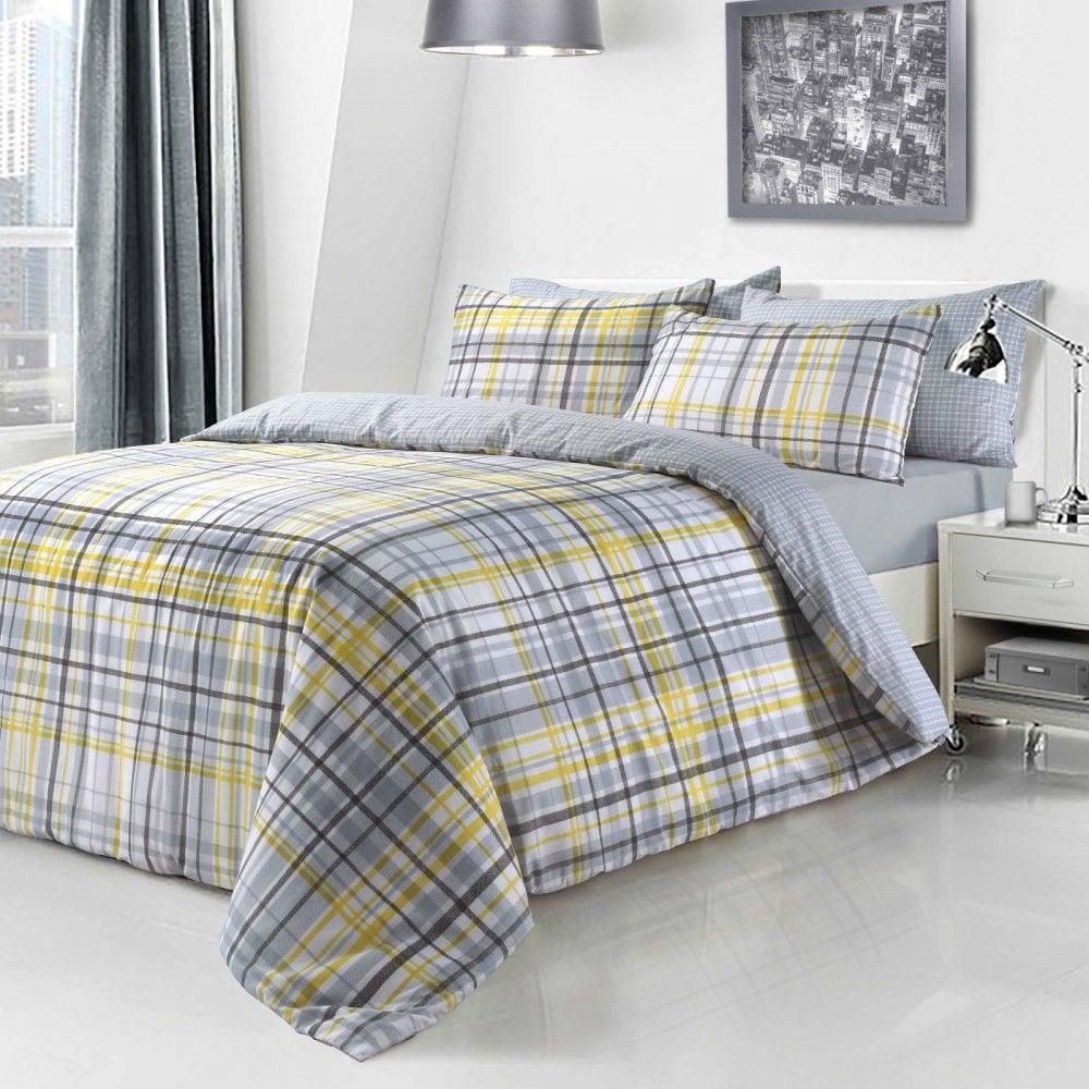 Yellow Check Tartan Duvet Set Quilt Cover Pillowcase Reversible